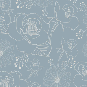 Light Blue and White Floral