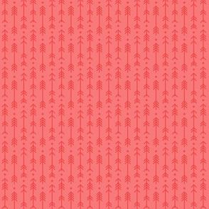 tiny cross + arrows coral tone on tone