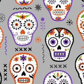 skull embroidery grey