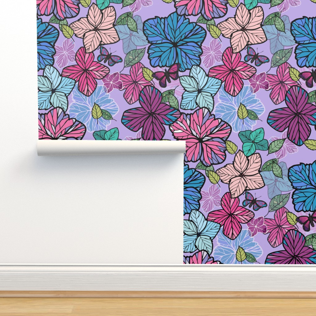 Isobar Durable Wallpaper featuring hygrangeas by sandravincent