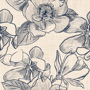 Inky chalk line flowers