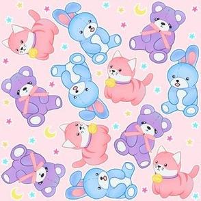 Pastel Stuffies on Marshmallow pink