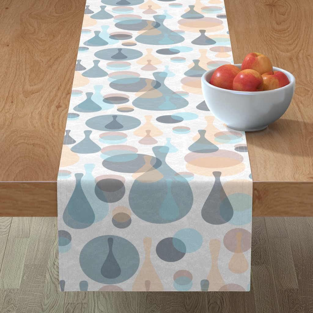 Minorca Table Runner featuring Neutral retreat - mod spots and drops  by dustydiscoball