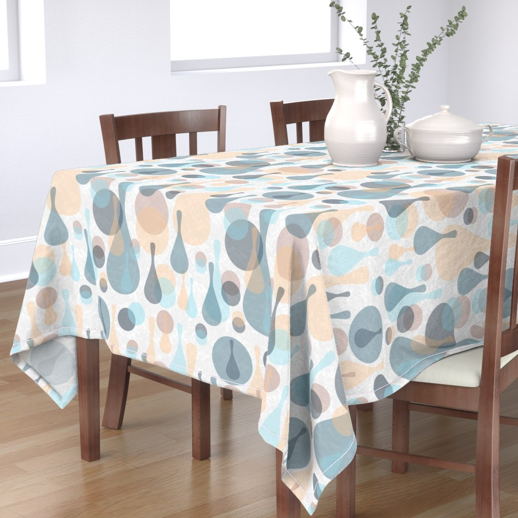 Bantam Rectangular Tablecloth featuring Neutral retreat - mod spots and drops  by dustydiscoball