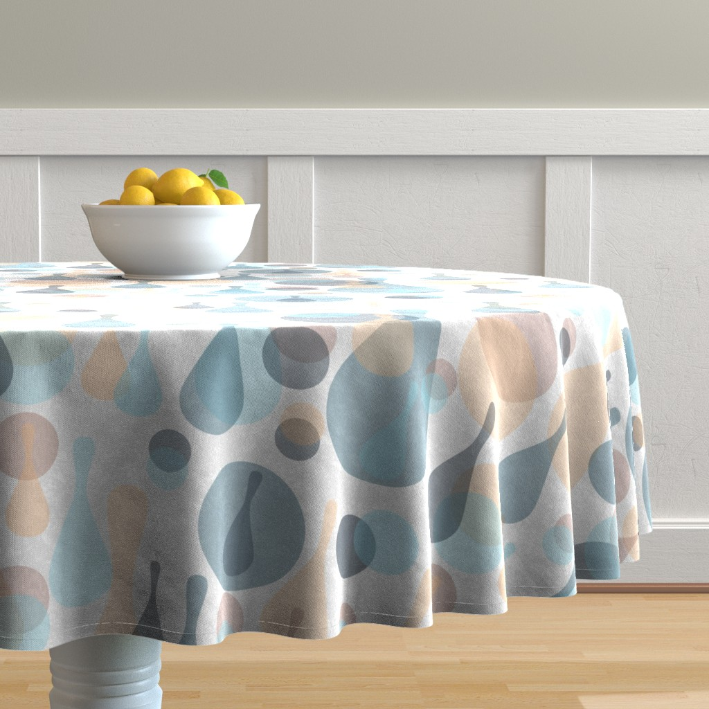 Malay Round Tablecloth featuring Neutral retreat - mod spots and drops  by dustydiscoball