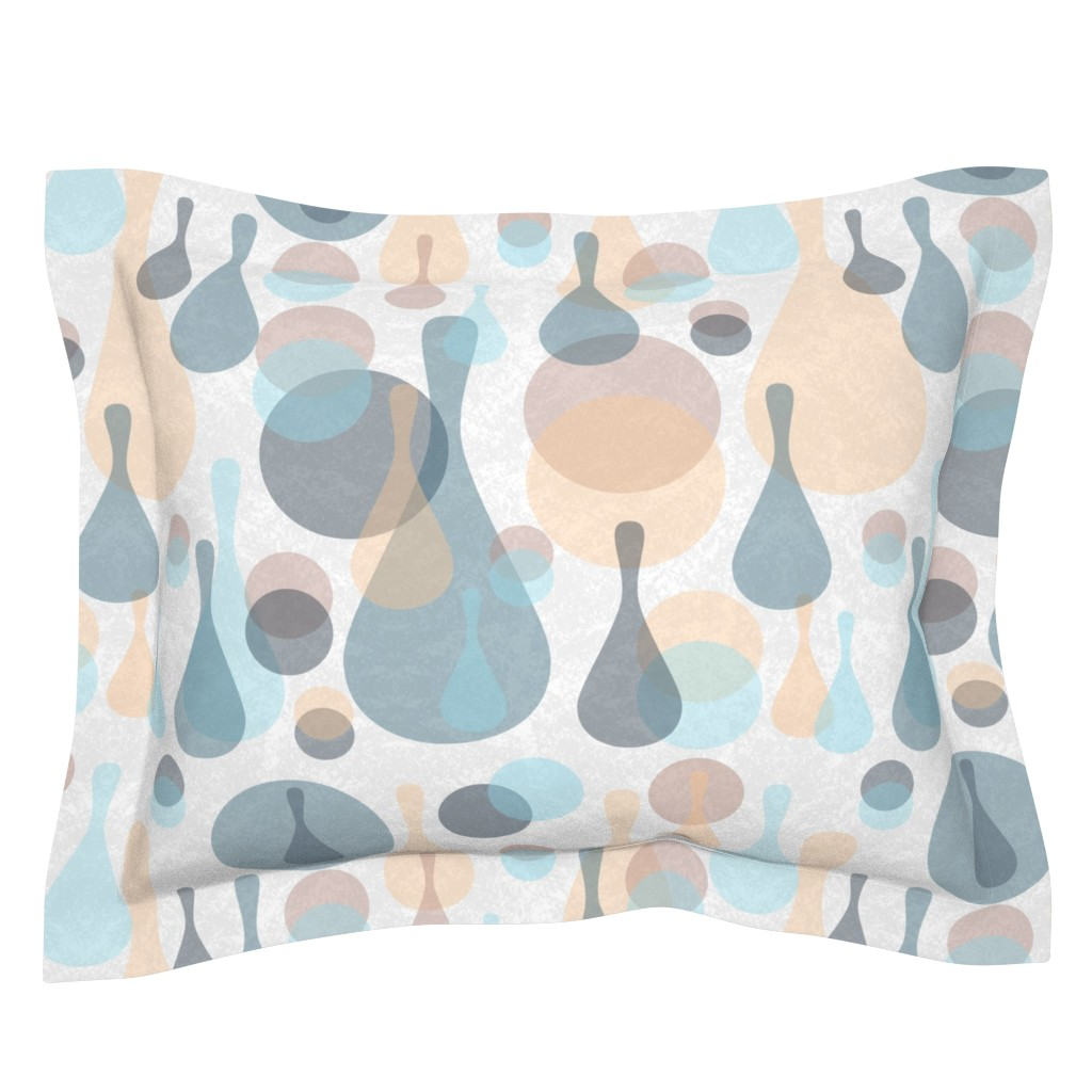 Sebright Pillow Sham featuring Neutral retreat - mod spots and drops  by dustydiscoball