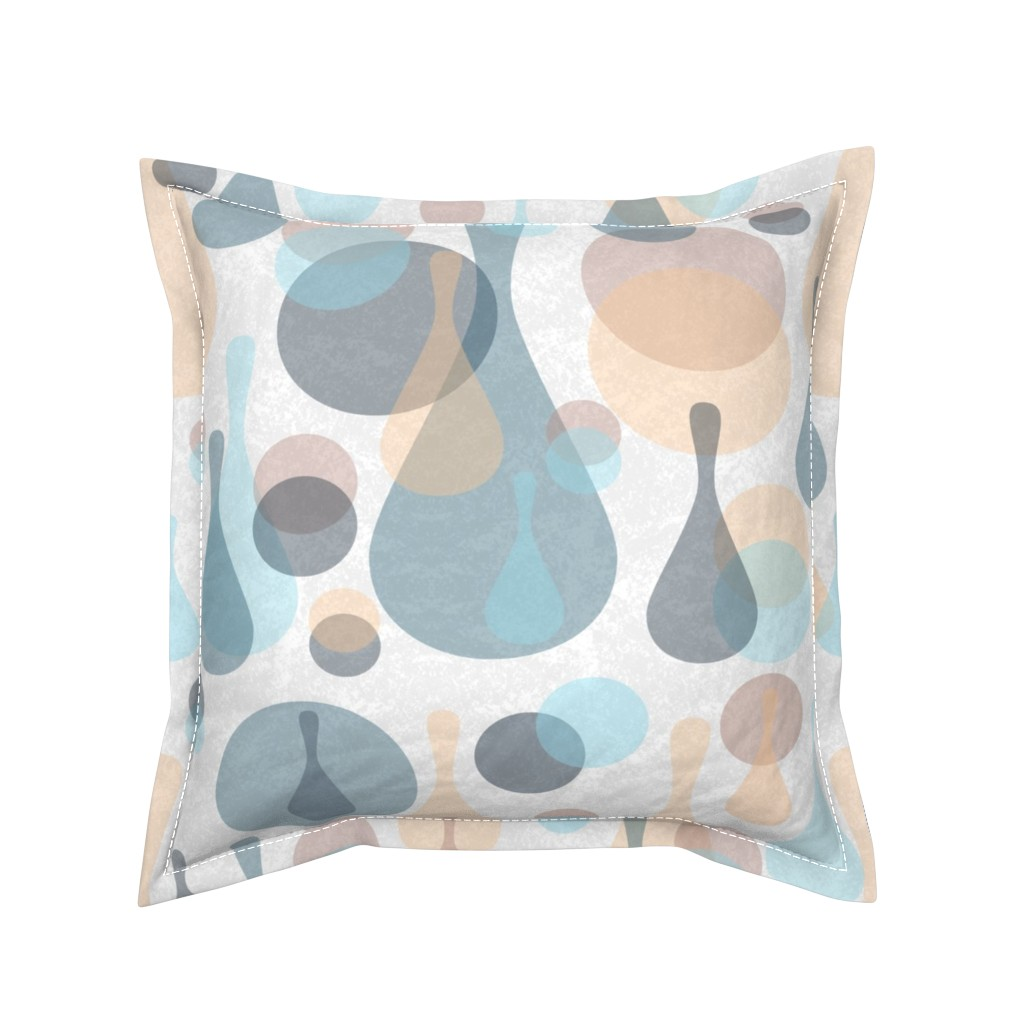 Serama Throw Pillow featuring Neutral retreat - mod spots and drops  by dustydiscoball