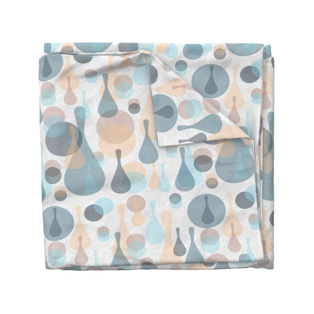 Wyandotte Duvet Cover featuring Neutral retreat - mod spots and drops  by dustydiscoball
