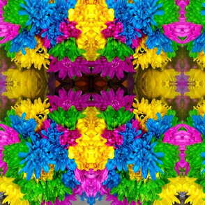 Multicolored flowers, mirrored