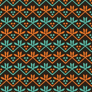 Autumn leaves stripes seamless pattern.