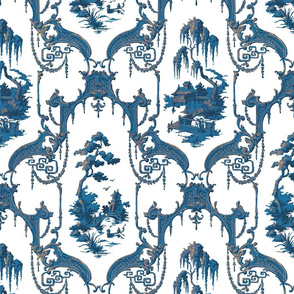 The Hawes Chinoiserie Toile ~  Blue and Faux Gilt on White