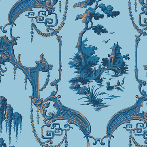 The Hawes Chinoiserie Toile ~  Blue and Faux Gilt on Dorothea