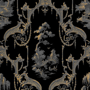 The Hawes Chinoiserie Toile ~  Faux Gilt on Black