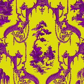 The Hawes Chinoiserie Toile ~ Faux Gilt and Purple on Dictator