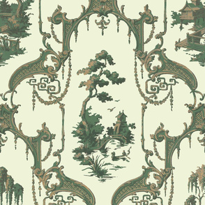The Hawes Chinoiserie Toile ~  Faux Gilt and Green on Lamia