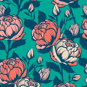 Rose garden - Teal