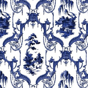 The Hawes Chinoiserie Toile ~ Willow Ware Blue and White