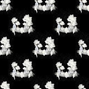 White Florals on Black