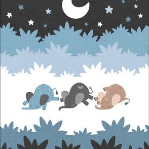 """Sleepy Elephants Blankets 13.5""""x18"""" Blue"""