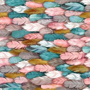 Feathers Jewel Tones Horizontal
