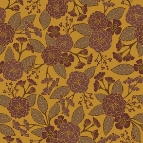 Mustard Yellow and Mauve Floral Pattern
