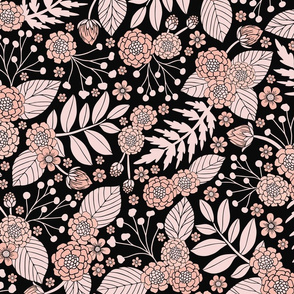 Pale Pink and Black Floral