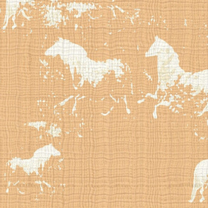 Cream Cave Horses on Coral Texture