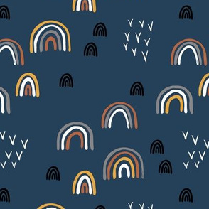 Rainbow sky and minimal birds dreamy retro night wish autumn winter navy blue boys