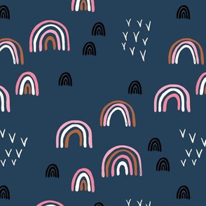 Rainbow sky and minimal birds dreamy retro night wish autumn winter navy blue pink