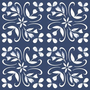 tulip inspired tile in navy