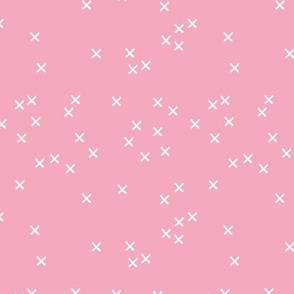 Basic geometric raw brush crosses pattern pink girls SMALL