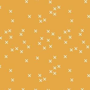 Basic geometric raw brush crosses pattern ochre yellow SMALL