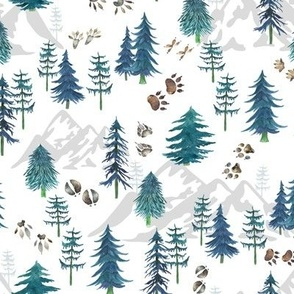 Timberland Tracks – Pine Tree Forest Animal Tracks (teal) SMALLER scale
