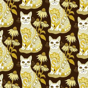 Fancy Feline Yellow White Brown