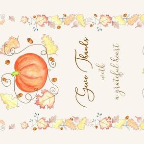 Give Thanks Pumpkin Tea Towel Ivory
