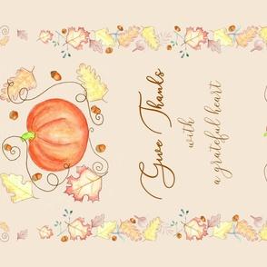 Give Thanks Pumpkin Tea Towel cream