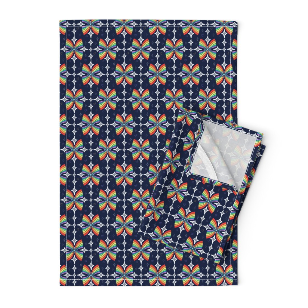 Orpington Tea Towels featuring Happy Rainbow by sandravincent