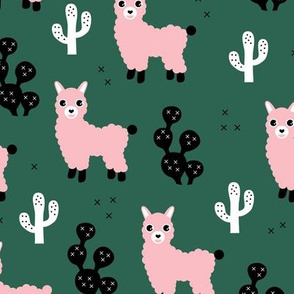 Soft pastel llama alpaca love cactus autumn fall winter forest green pink