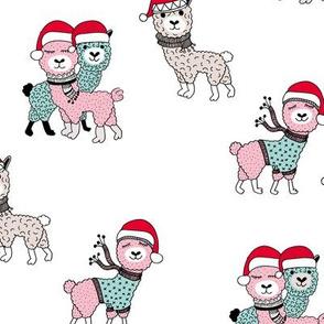 Winter wonderland llama friends in sweaters and santa hats alpaca snow Christmas winter pink mint