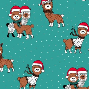 Winter wonderland llama friends in sweaters and santa hats alpaca snow Christmas winter teal emerald blue