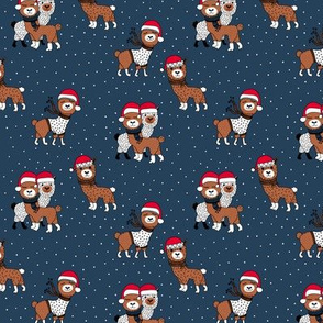Winter wonderland llama friends in sweaters and santa hats alpaca snow Christmas winter navy blue copper rust night SMALL