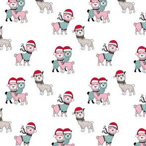 Winter wonderland llama friends in sweaters and santa hats alpaca snow Christmas winter pink mint girls SMALL