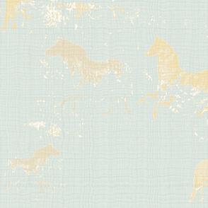 Cream Cave Horses Aqua Texture