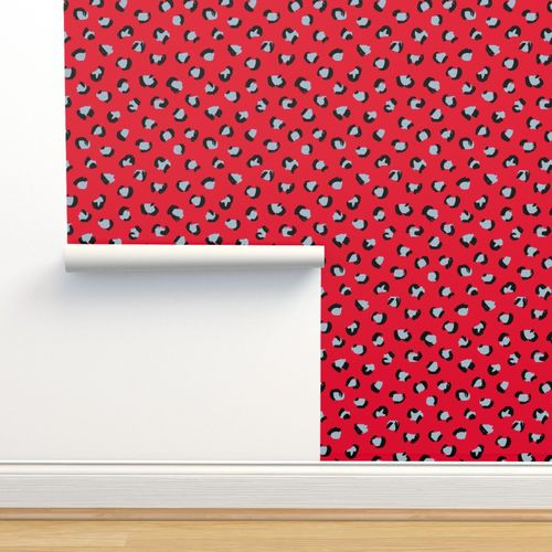 Wallpaper Trendy Leopard Print Animal Skin Fur Modern Scandinavian Style Raw Brush Abstract Christmas Ruby Red Blue
