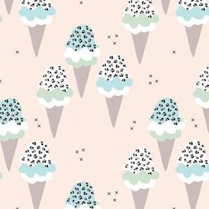 Sweet leopard animal print ice-cream cones summer love candy blue gray boys nursery