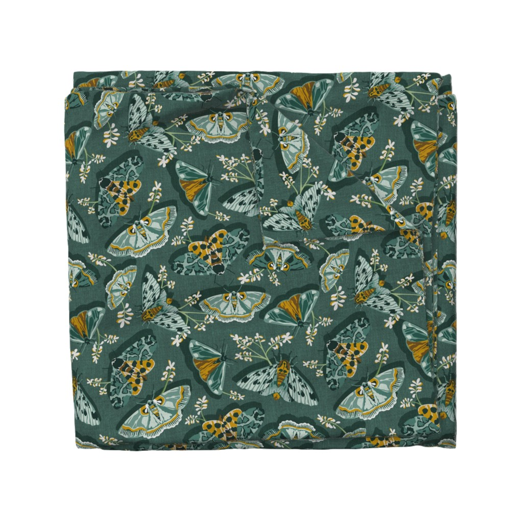 Wyandotte Duvet Cover featuring Gathering Moths - Antique Green Large Scale  by heatherdutton