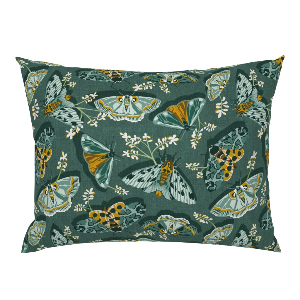 Campine Pillow Sham featuring Gathering Moths - Antique Green Large Scale  by heatherdutton