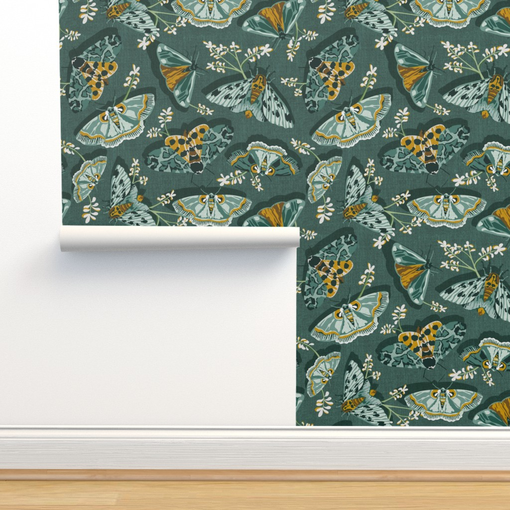 Isobar Durable Wallpaper featuring Gathering Moths - Antique Green Large Scale  by heatherdutton