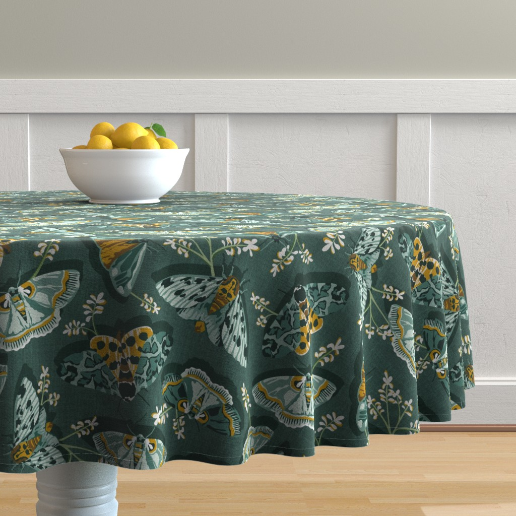 Malay Round Tablecloth featuring Gathering Moths - Antique Green Large Scale  by heatherdutton