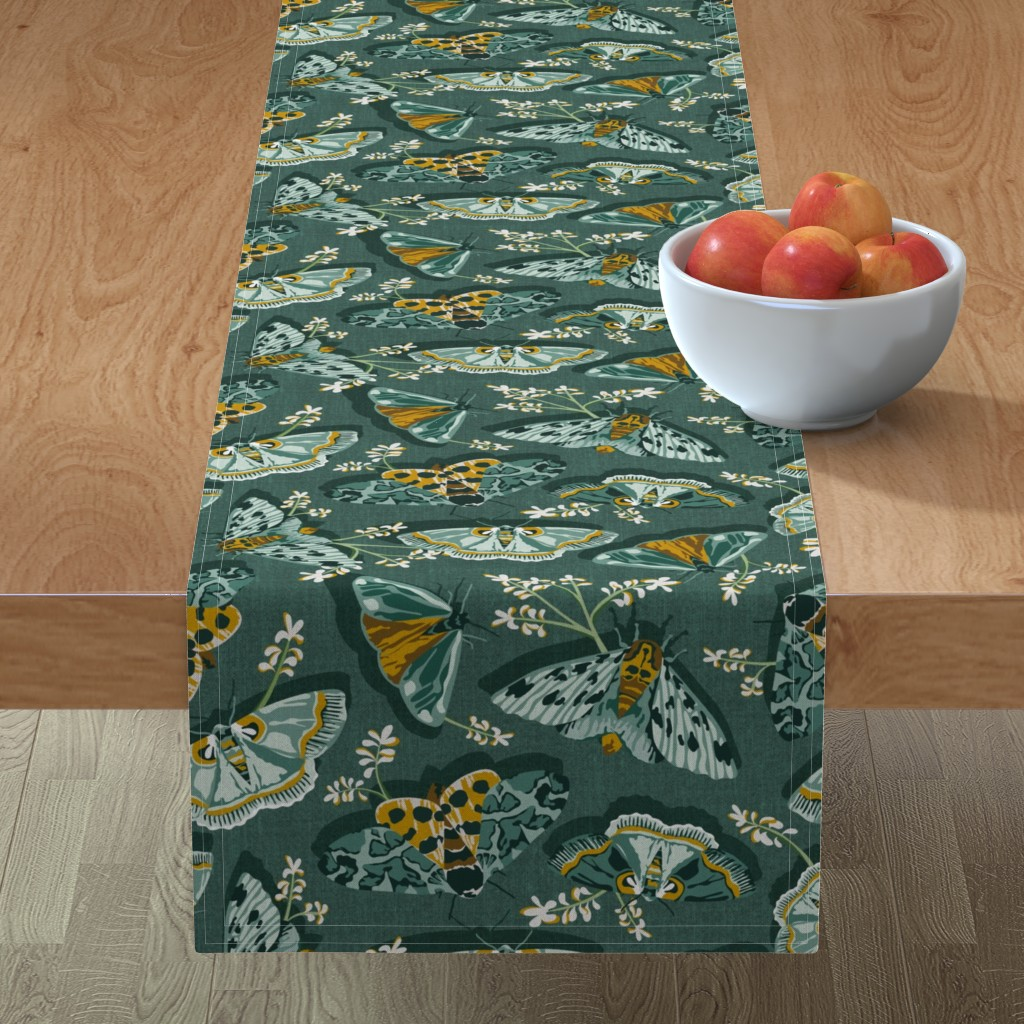 Minorca Table Runner featuring Gathering Moths - Antique Green Large Scale  by heatherdutton